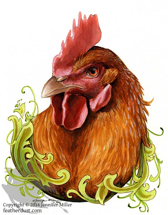 """Jennifer Miller """"To the Fierce and Intelligent Production Hen"""" 8.5x6.25 acrylic/paper matted/unframed $275. Inquire"""