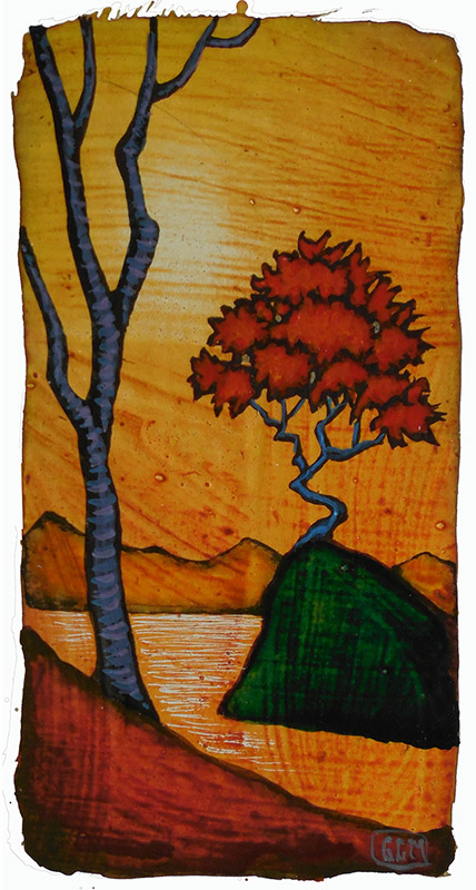 "GC Myers ""A Meditation"" 4x2 acrylic/paper SOLD"