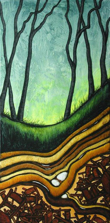 """GC Myers """"Archaeology From Whence I Came"""" 24x12 acrylic/canvas $ Inquire"""