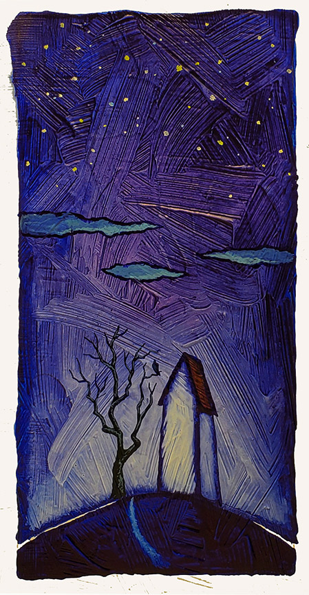 """GC Myers """"Blue Silent Night"""" 8x4 acrylic/paper SOLD"""