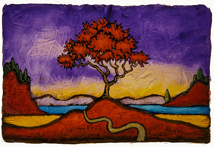 """GC Myers """"Come Days of Color"""" 4x6 acrylic/paper SOLD"""