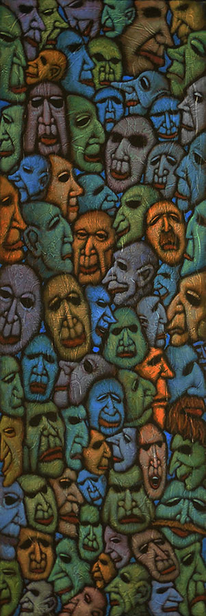 "GC Myers ""Multitudes: Masks"" 36x12 acrylic/canvas $ Inquire"