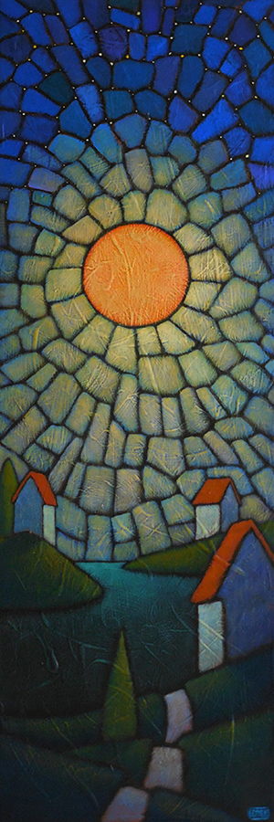 "GC Myers ""Night Gem Rising"" 36x12 acrylic/canvas $ Inquire"