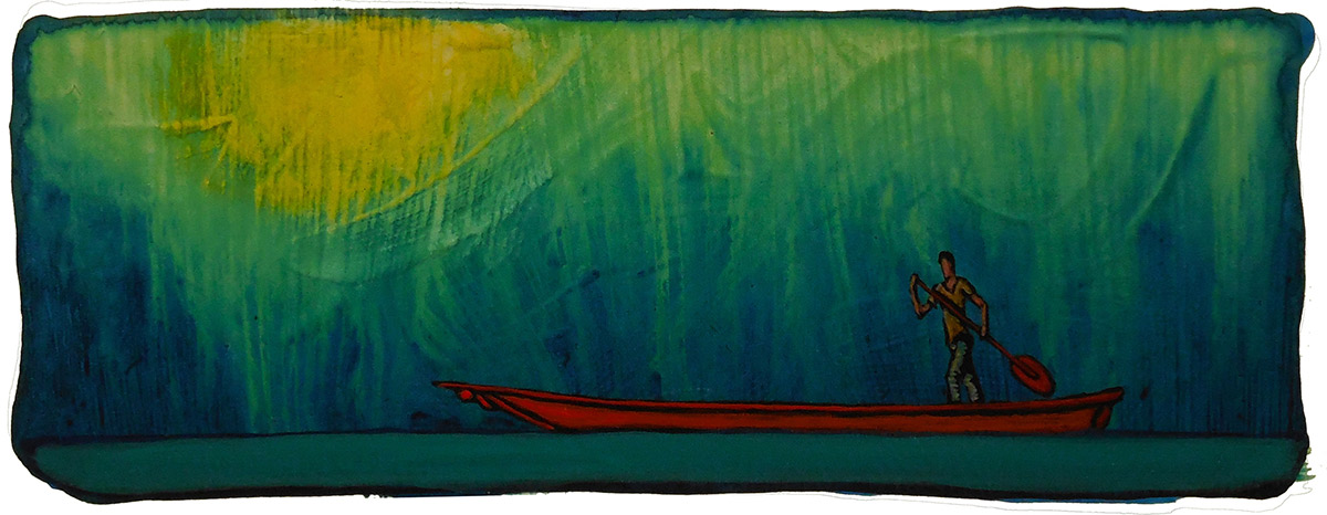 "GC Myers ""Pulling Across"" 2x6 acrylic/paper SOLD"