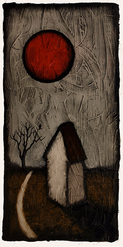 """GC Myers """"The Shadow of the Red Eye"""" 8x4 acrylic/paper $ Inquire"""