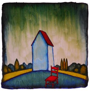 """GC Myers """"The Waiting Room"""" 5x5 acrylic/paper $ Inquire"""