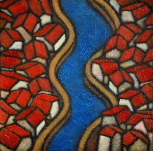 """GC Myers """"Two Sides of Blue #2"""" 12x12 acrylic/canvas $ Inquire"""