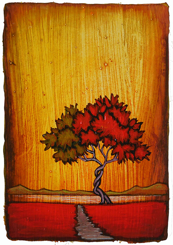 "GC Myers ""Valentine's Dance"" 5.5x4 acrylic/paper $ Inquire"