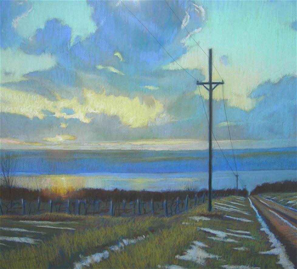"Brian Keeler ""Seneca Vineyards - November"" 26x29 pastel $2,800."