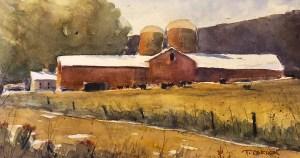 """Terry Oakden """"Backroad Farm"""" 7x12 watercolor $250. unframed"""
