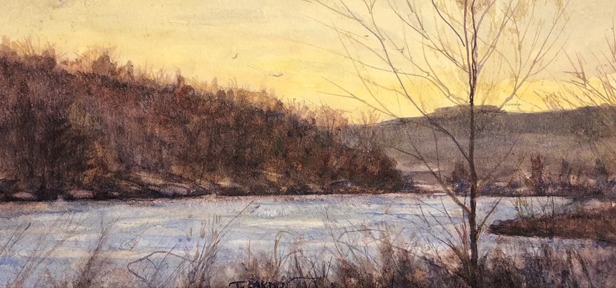 """Terry Oakden """"Crisp Air"""" 5x11 watercolor $150. unframed"""