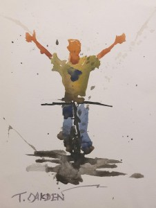 "Terry Oakden ""Joy Ride II"" 7x5 watercolor $100. unframed"