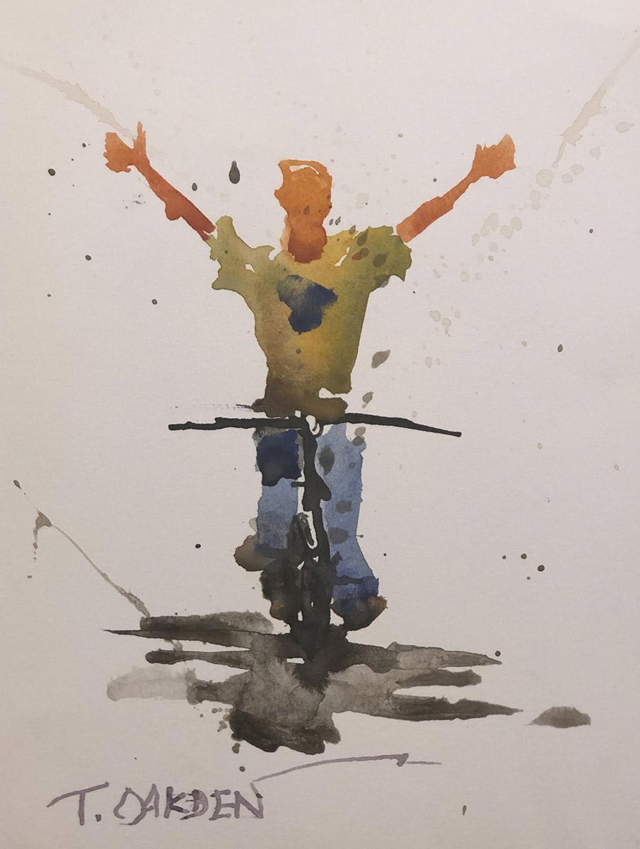 """Terry Oakden """"Joy Ride II"""" 7x5 watercolor $100. unframed SOLD"""