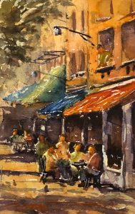 """Terry Oakden """"Solving the Great Mysteries"""" 10x7 watercolor $200. unframed"""