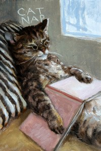 "Wilson Ong ""Cat Nap"" 6x4 oil/board $230. SOLD"