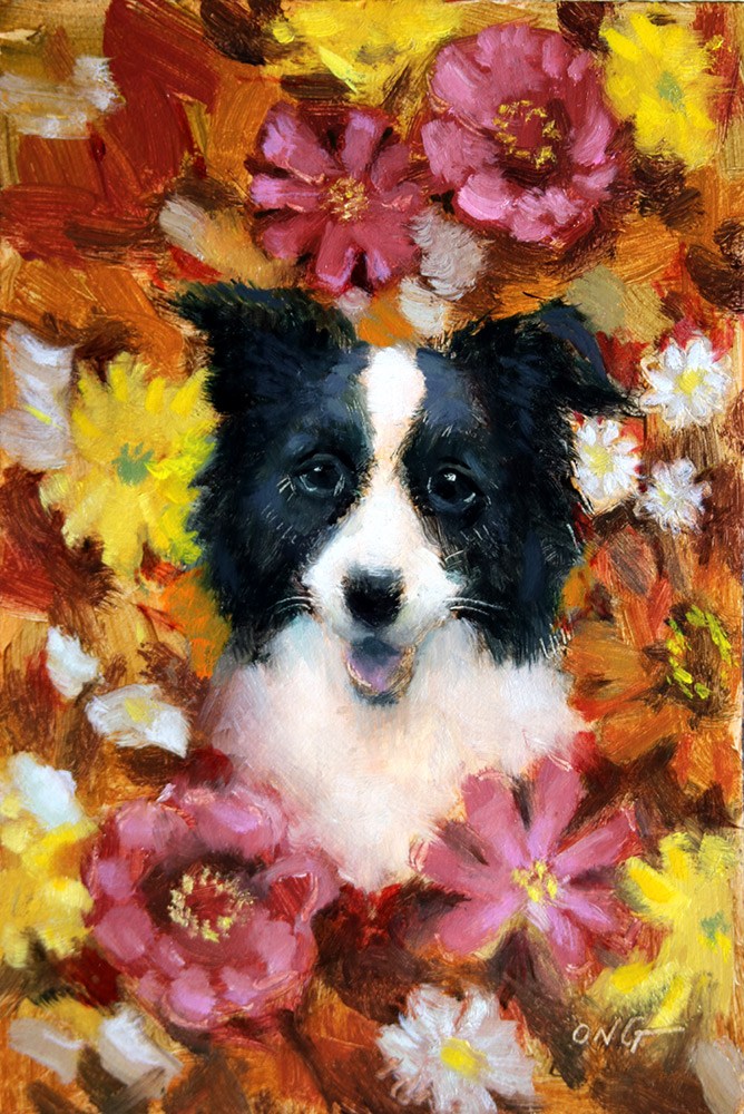 "Wilson Ong ""Collie Flower"" 6x4 oil/board $200. SOLD"