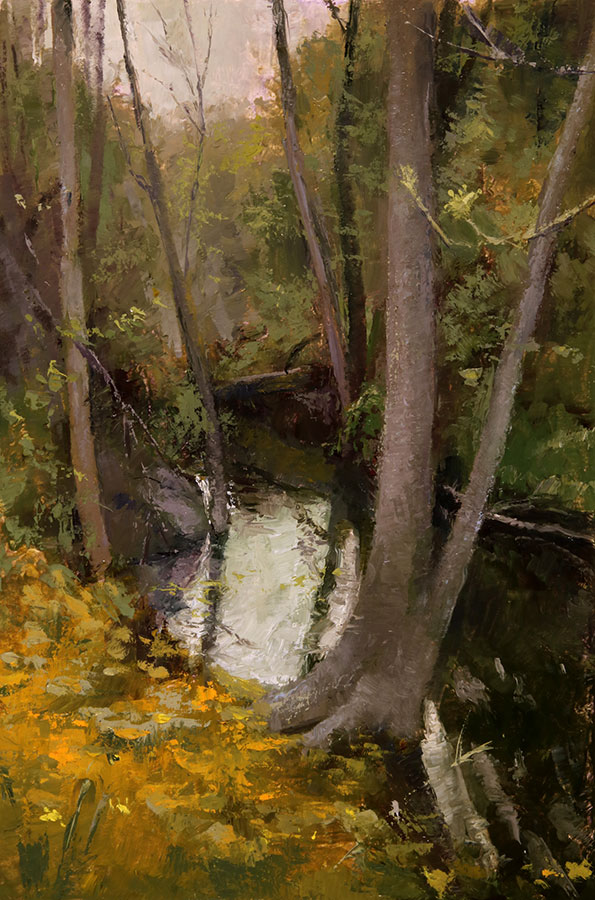 "Wilson Ong ""Hidden Creek"" 11x7.5 oil/board $500. INQUIRE *"