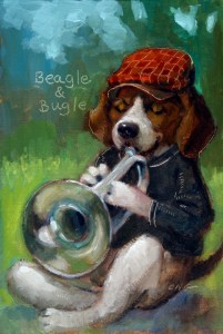 "Wilson Ong ""Beagle and Bugle"" 6x4 oil $200."