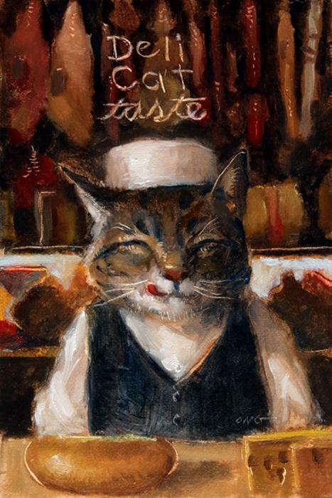 """Wilson Ong """"Deli Cat Taste"""" 6x4 oil $200. SOLD"""