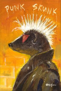 "Wilson Ong ""Skunk Punk"" Oil Painting"