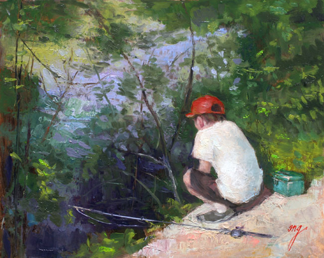 "Wilson Ong ""Looking for His Spot"" 8x10 oil $500."