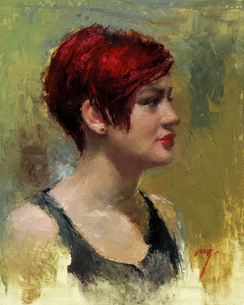 "Wilson Ong ""Red Hair"" 10x8 oil $625."