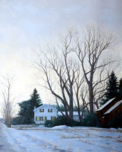 "Wilson Ong ""Winter Shelter"" 30x24 oil $2,800."