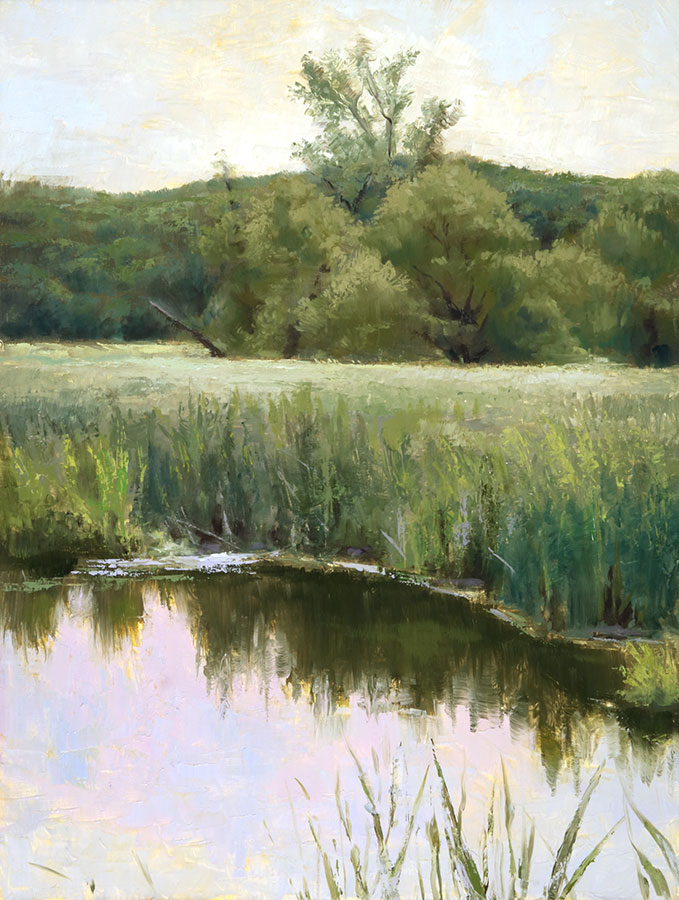 "Wilson Ong ""Marsh Reflection"" 16x12 oil/board $750. INQUIRE *"