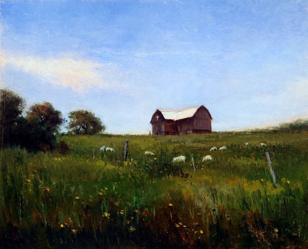 "Wilson Ong ""Mount Saviour Barn"" 8x10 oil/board $500."