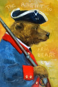 """Wilson Ong """"The Right to Arm Bears"""" 6x4 oil/board $230."""
