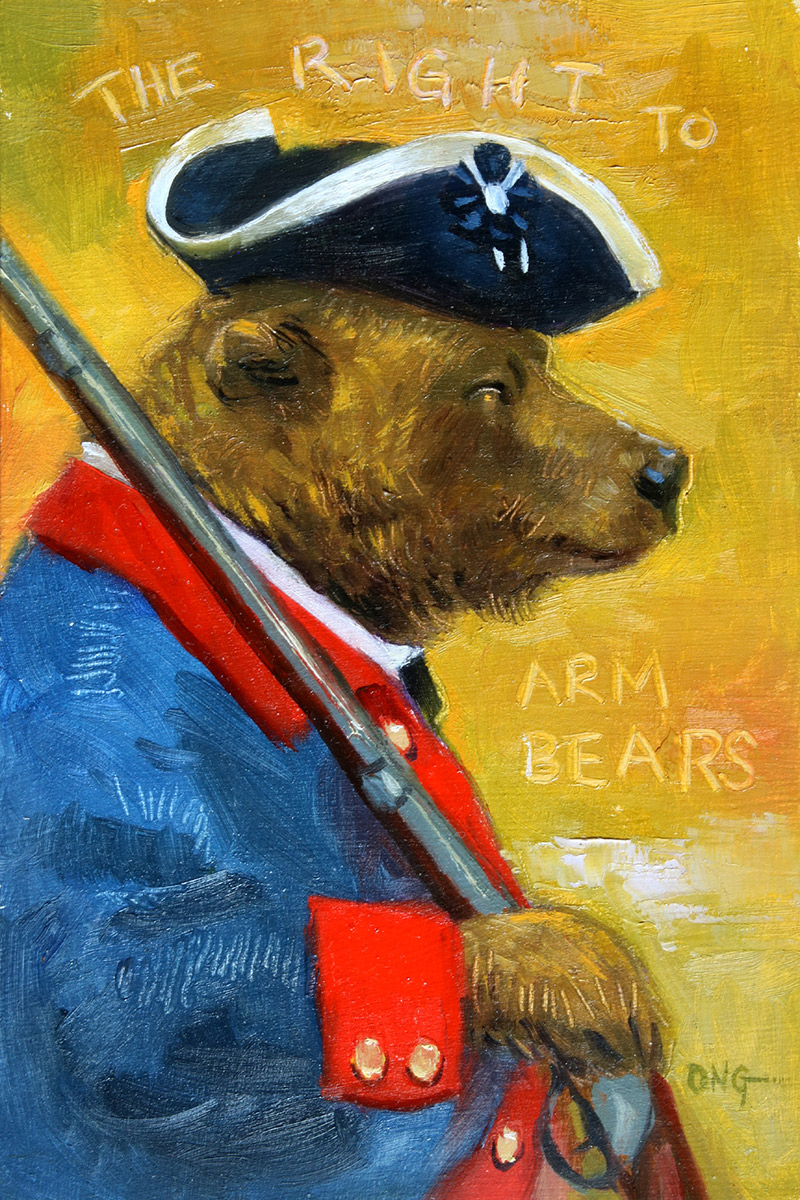 """Wilson Ong """"The Right to Arm Bears"""" 6x4 oil/board $230. SOLD"""