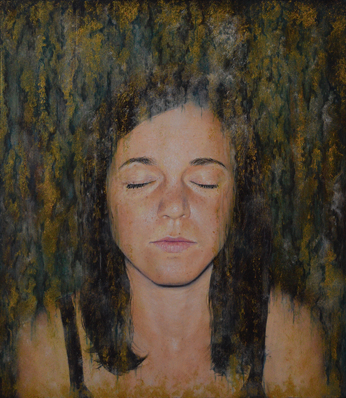 "Gina Pfleegor ""Be"" 18x16 oil $580."