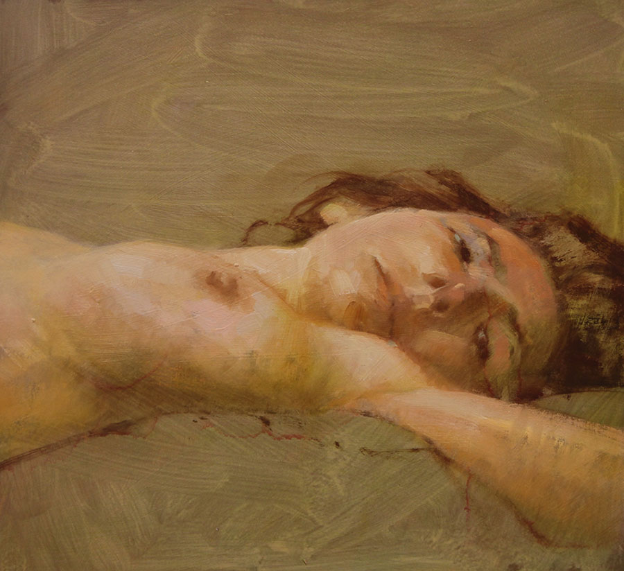 "Martin A. Poole ""At Rest"" 10x11 oil $1,100. Unframed"