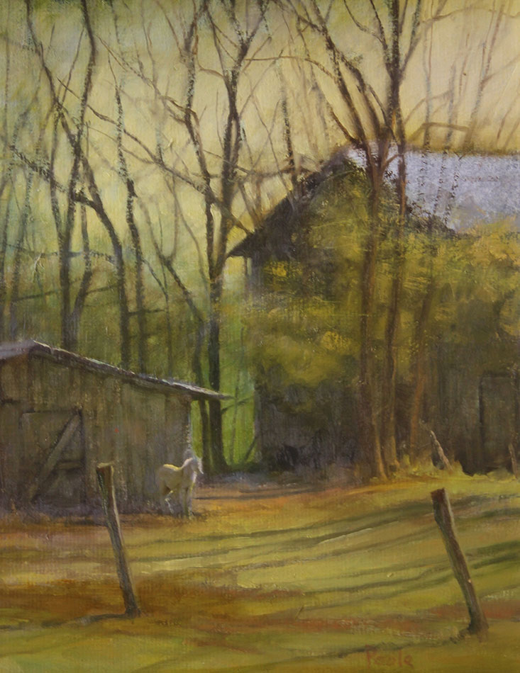 "Martin A. Poole ""Cold Morning"" 14x11 oil $1,600. SOLD"