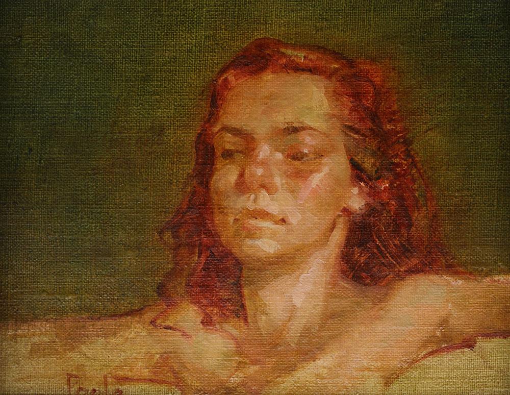 """Martin A. Poole """"Contemplative"""" 8x10 oil $1,150."""