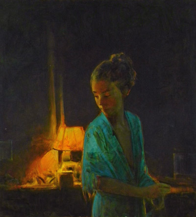 "Martin Poole ""Blue Robe"" 26x24 oil $2,800."