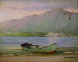 "Martin Poole ""Blue Boat"" 16x20 oil $2,090."