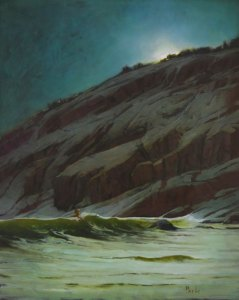 "Martin Poole ""Night Swim"" 30x24 oil $3,200."