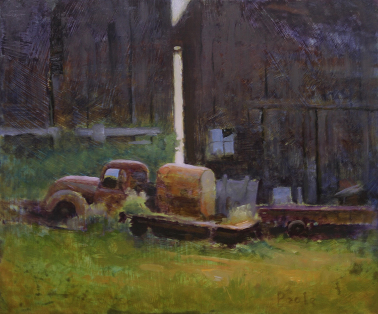 "Martin Poole ""Up on Blocks - Old Truck"" 12x14 oil $1,600."