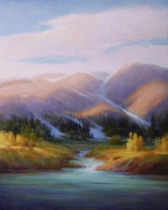 """Martin Poole """"Water's Source - River in the Rockies"""" 20x16 oil $2,090"""