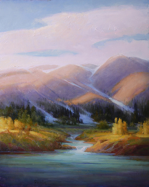 "Martin Poole ""Water's Source - River in the Rockies"" 20x16 oil $2,090"