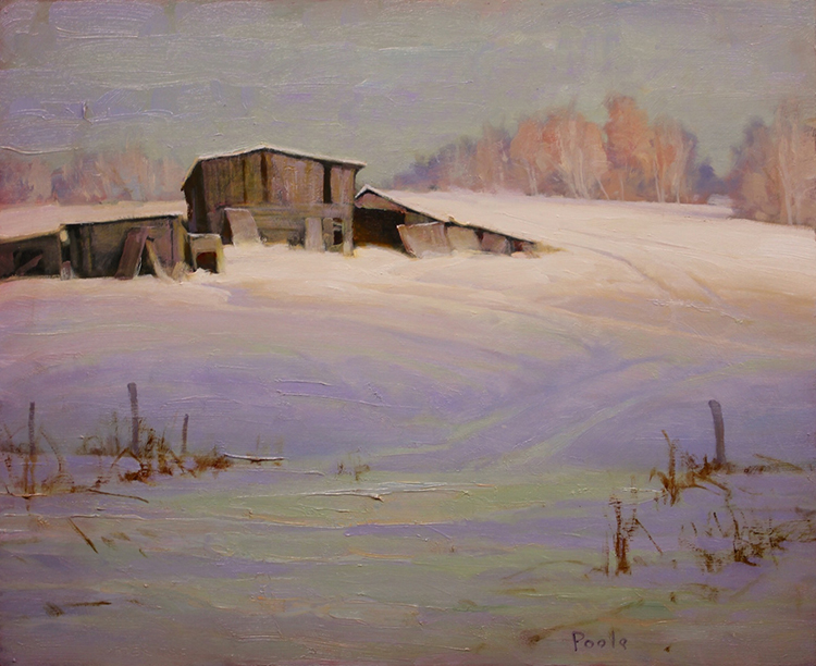 "Martin Poole ""Spring Coming - Sheds in Snow"" 16x20 oil $2,090."