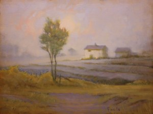 "Martin Poole ""Peach Sky - WhiteFarm"" 12x16 oil $1,650."