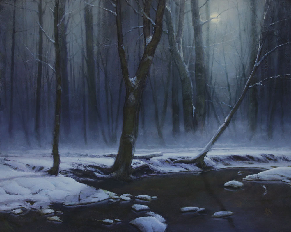 "Martin A. Poole ""Snowy Creek"" 24x30 oil $3,200."