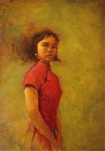 "Martin A. Poole ""Woman in a Red Dress"" 16x11.25 oil $1,650. unframed"