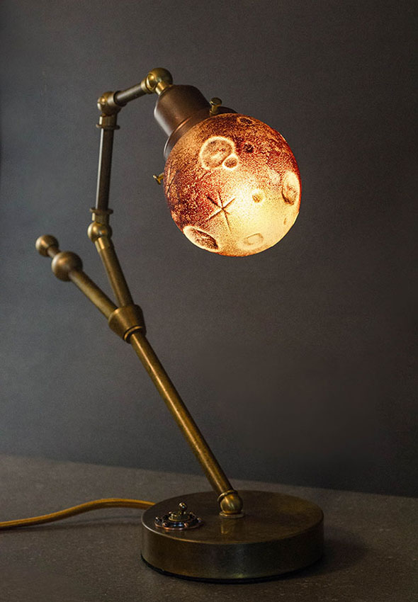 "Ross Delano ""Luna de sangre"" 11"" tall 13"" wide 5"" depth aged brass and sculpted glass lamp $890. Inquire"