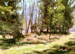 """James Ramsdell """"Spring into the Woods"""" 6x8 oil $250."""
