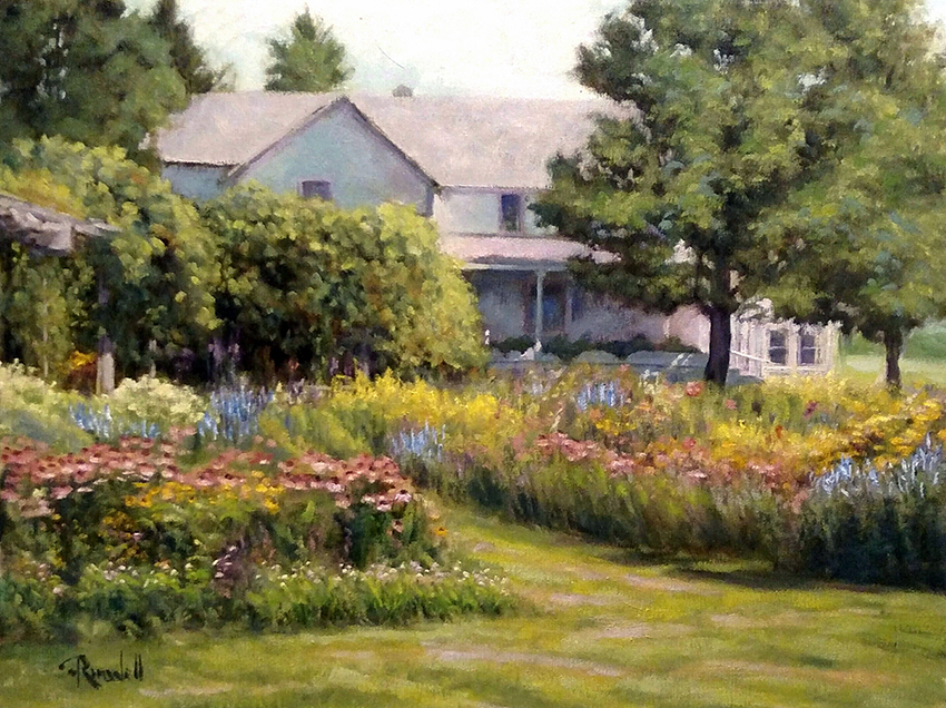 """James Ramsdell """"The Cottage Garden"""" 18x24 oil $1,400."""