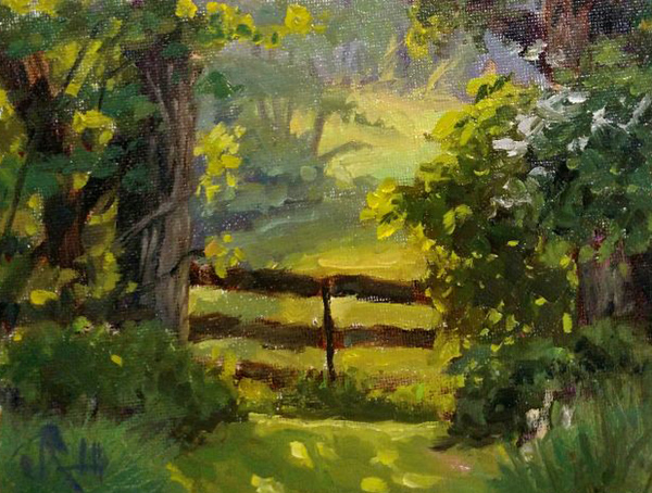 """James Ramsdell """"The Pasture Gate"""" 6x8 oil $250."""