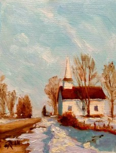 "James Ramsdell ""Winter Refuge"" 8x6 oil $250."